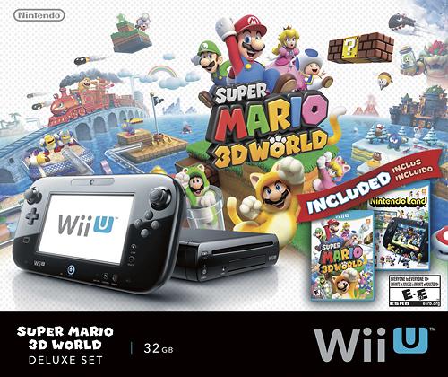 Nintendo - Wii U 32GB Console Super Mario 3D World and Nintendo Land Bundle - Black - Larger Front