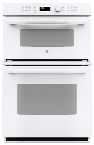 ge 27 single electric wall oven with built in microwave white on white