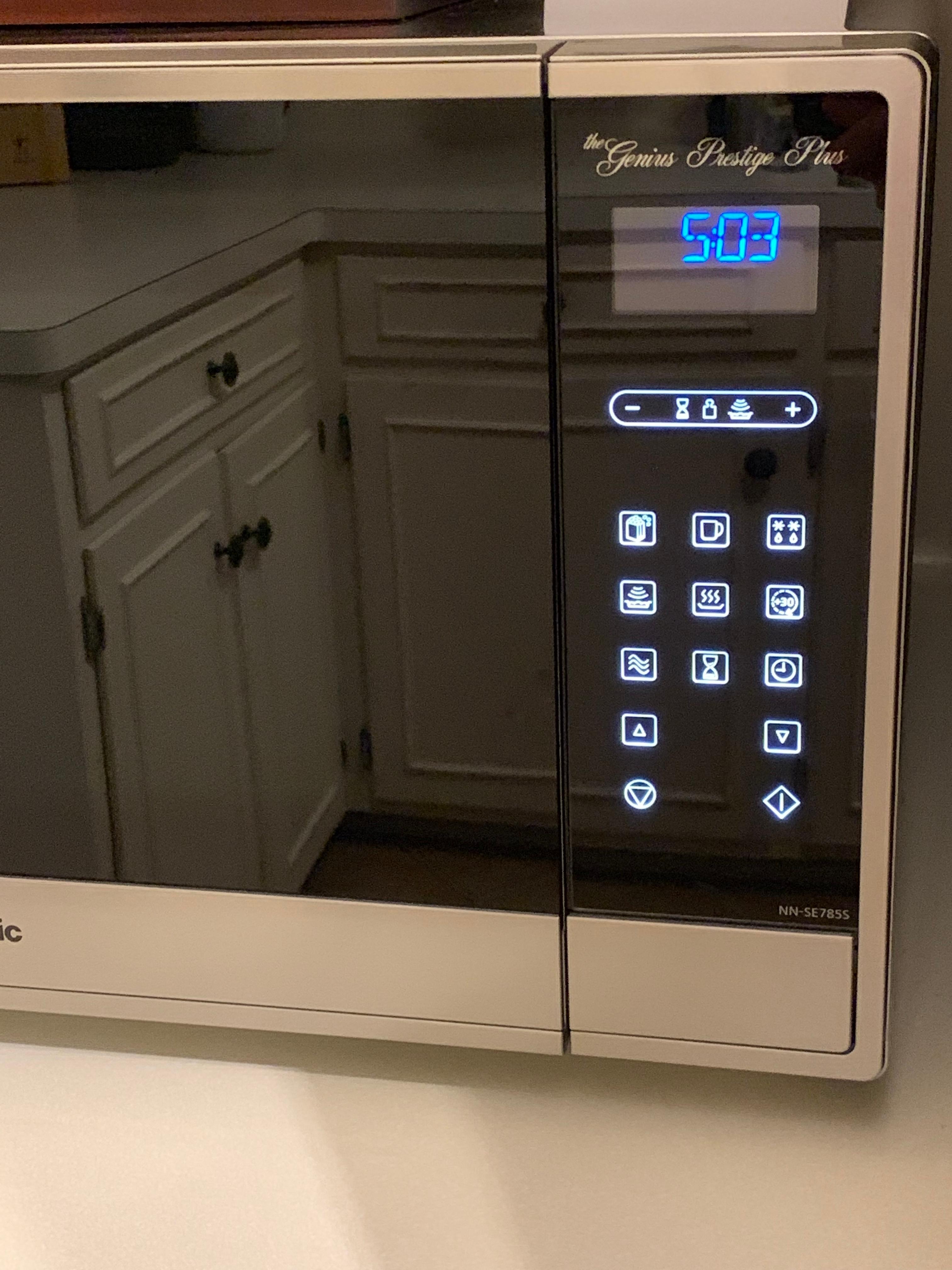 panasonic genius prestige plus 1 6 cu ft microwave with sensor cooking stainless steel