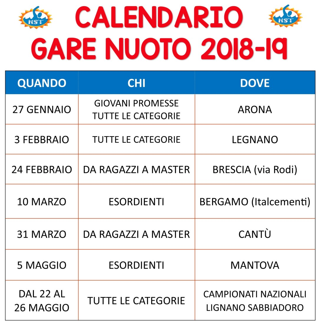 Calendario Nuoto Master.Calendario Definitivo Gare Di Nuoto Csi Happy Sport Team