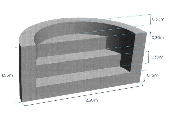 Escalier roman de piscine - 2,50m