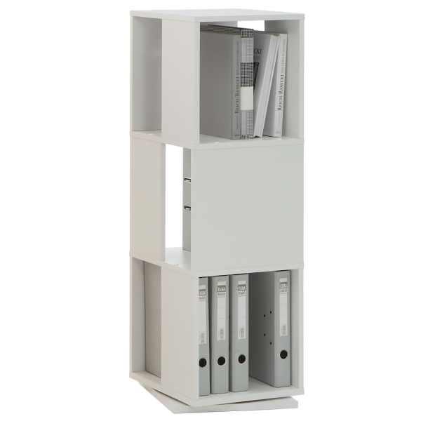 FMD Dulap rotativ de dosare deschis, alb, 34 x 34 x 108 cm
