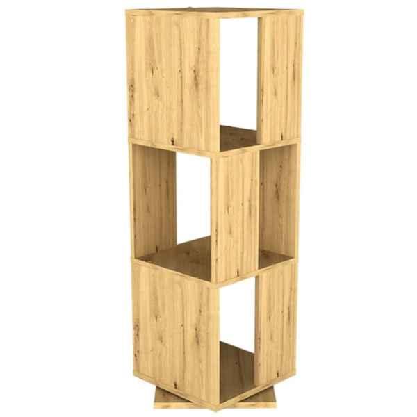 FMD Dulap rotativ de dosare deschis, stejar antichizat, 34x34x107 cm