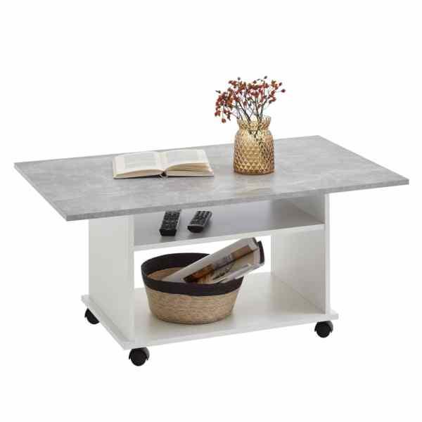 FMD Măsuță de cafea cu rotile, gri beton și alb
