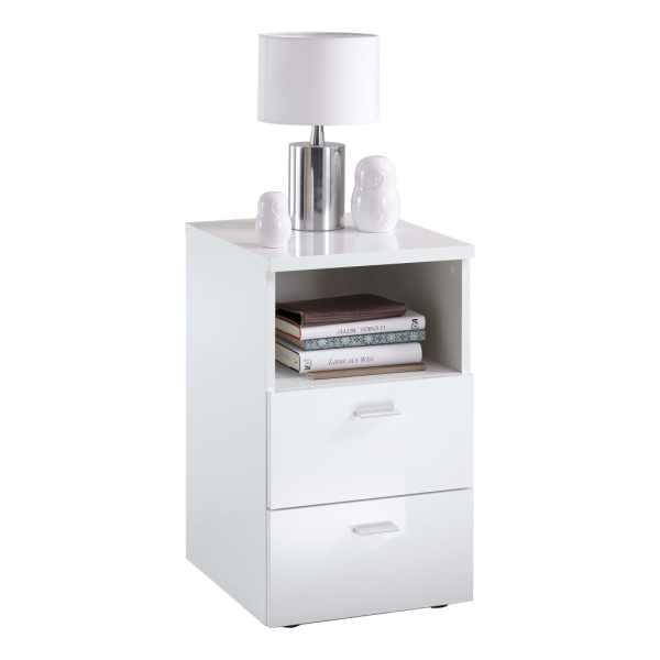 FMD Noptieră cu 2 sertare și raft, alb extralucios