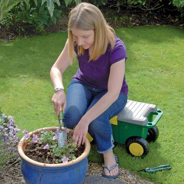 Draper Tools Cărucior de unelte grădină și scaun verde 56×27,2×30,4 cm