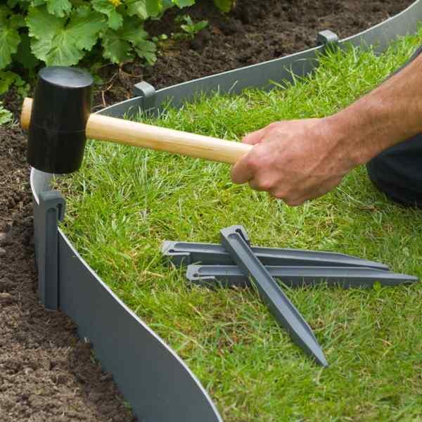 Nature Țăruși de fixare pentru grădină, 10 buc., gri, mic