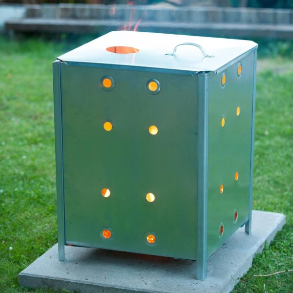 Nature Incinerator de grădină, 46x46x65 cm, oțel galvanizat, pătrat