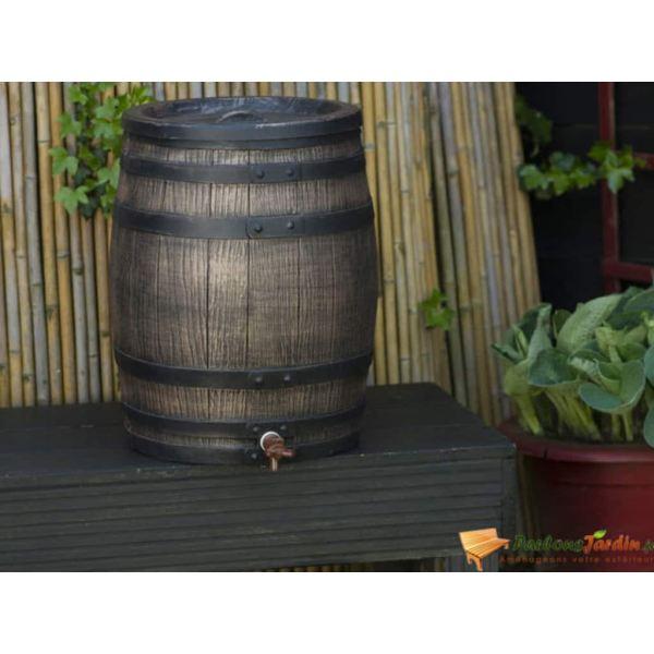 Nature Butoi de apă de ploaie cu aspect de lemn, maro, 38×49,5 cm, 50L