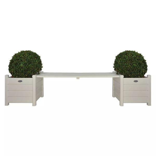 Esschert Jardiniere cu bancă tip pod, alb, CF33W