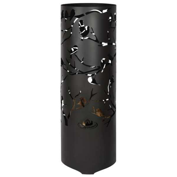 Esschert Design Coș de foc Birds on Twig, negru, oțel carbon FF409