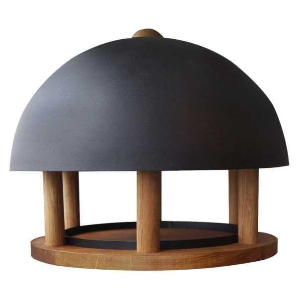Esschert Design Hrănitor păsări rotund cu acoperiș de oțel FB429