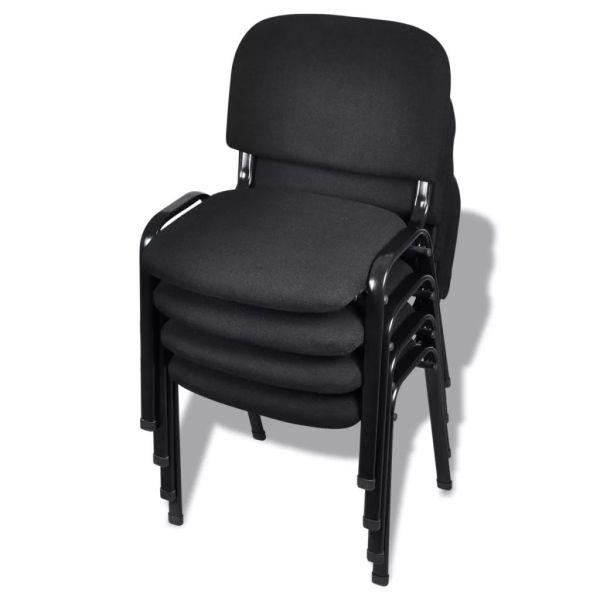 vidaXL Scaune de birou stivuibile din material textil, negru, 4 buc.