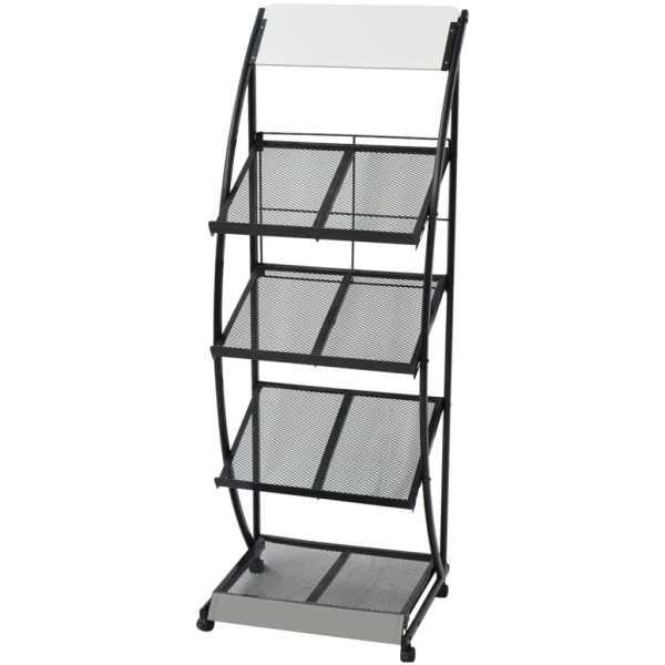 vidaXL Raft reviste A4, 47 x 40 x 134 cm, negru și alb