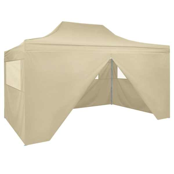 42513 vidaXL Foldable Tent Pop-Up with 4 Side Walls 3×4,5 m Cream White