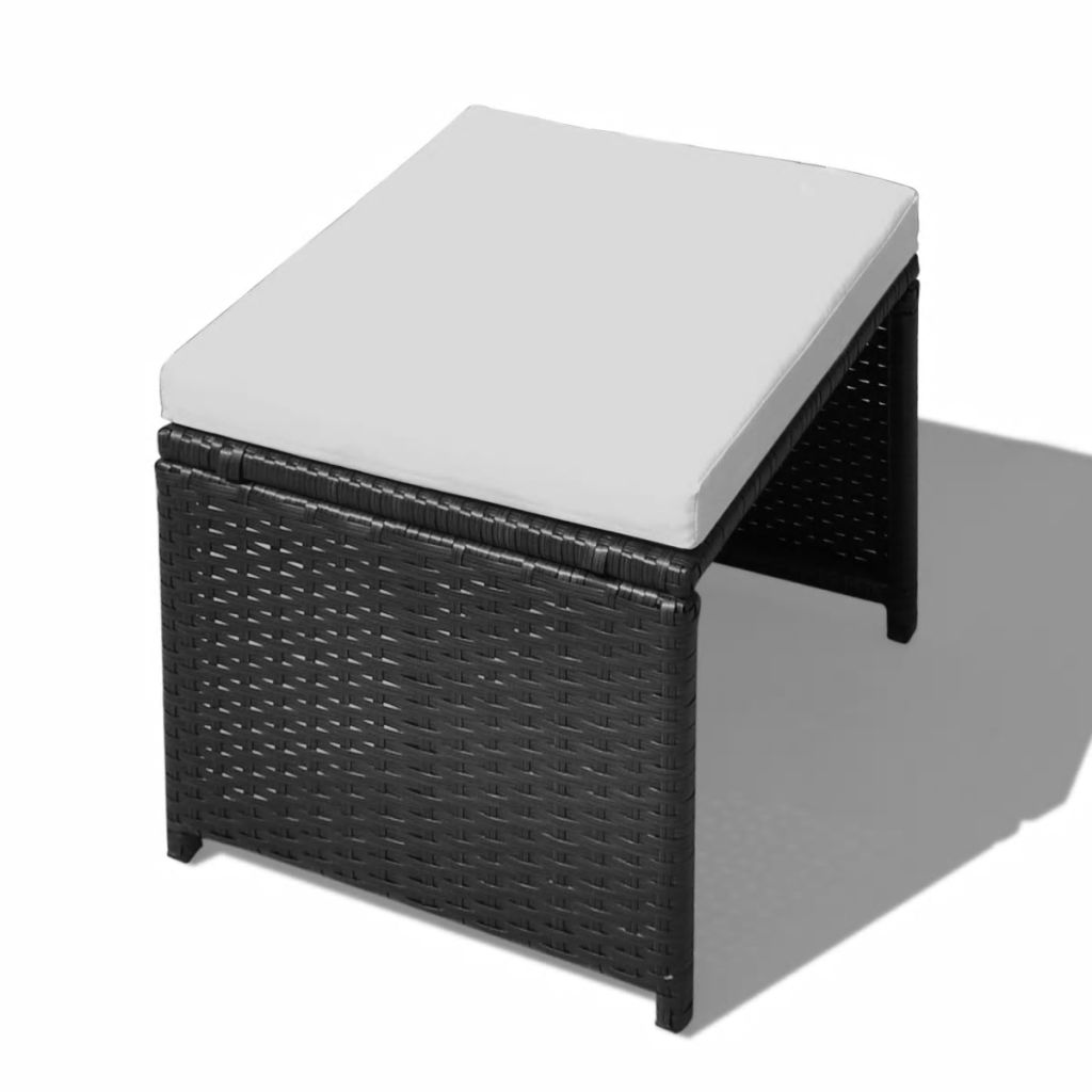 Set mobilier de exterior 13 piese negru, poliratan, lemn acacia
