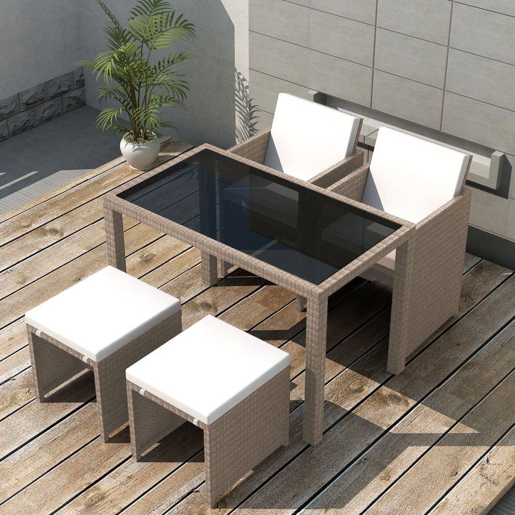 vidaXL Set mobilier de exterior cu perne, 5 piese, bej, poliratan