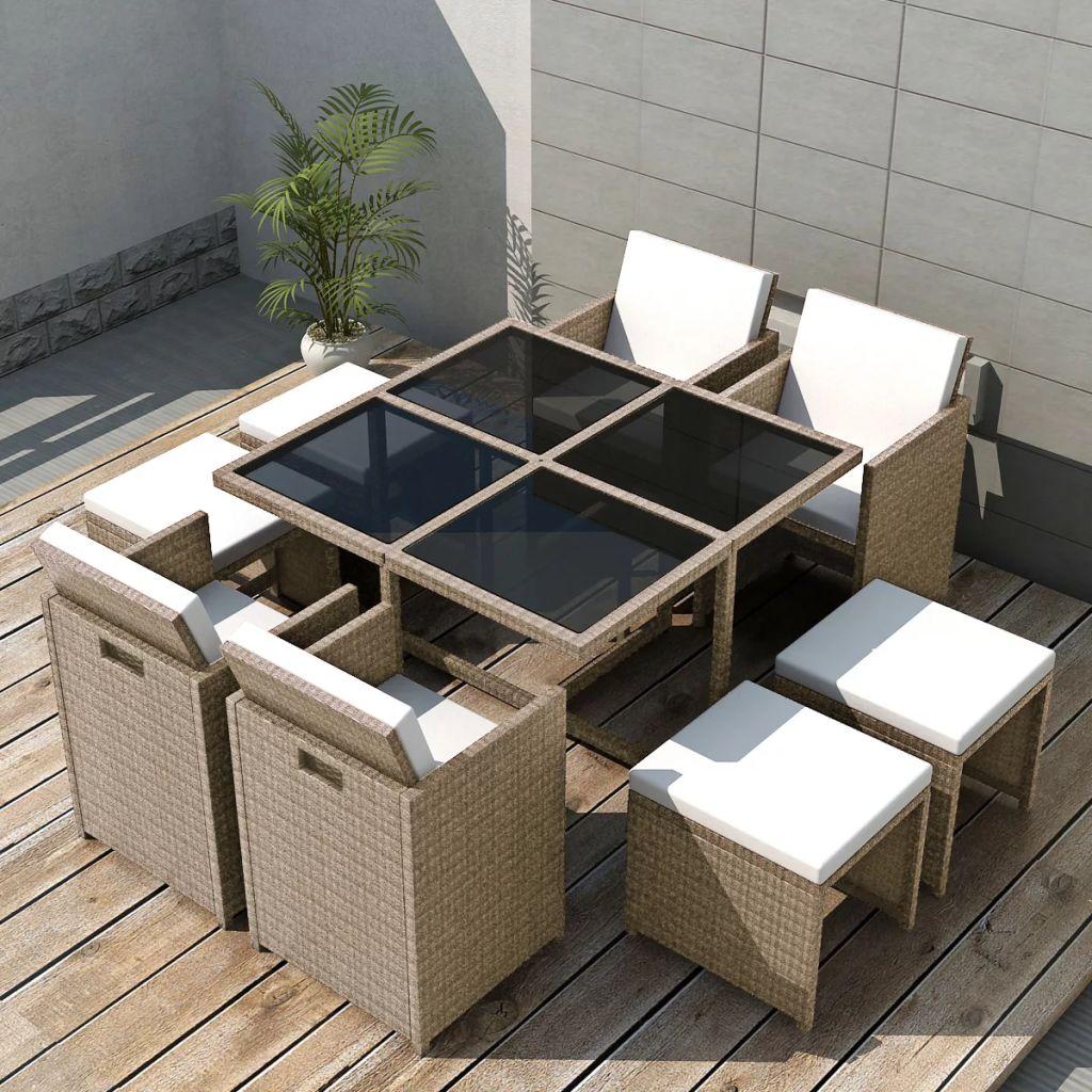 vidaXL Set mobilier de exterior cu perne, 9 piese, bej, poliratan
