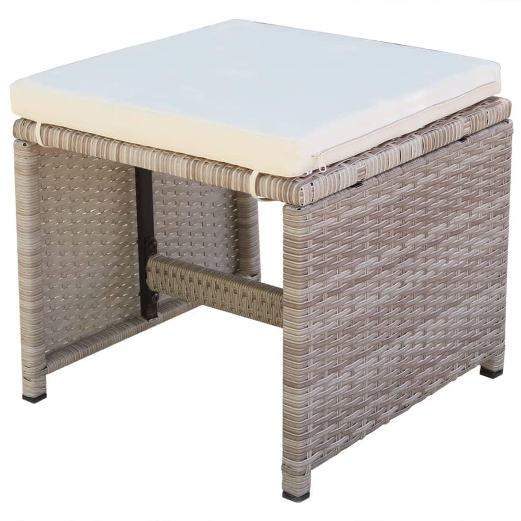 Set mobilier de exterior cu perne, 11 piese, bej, poliratan