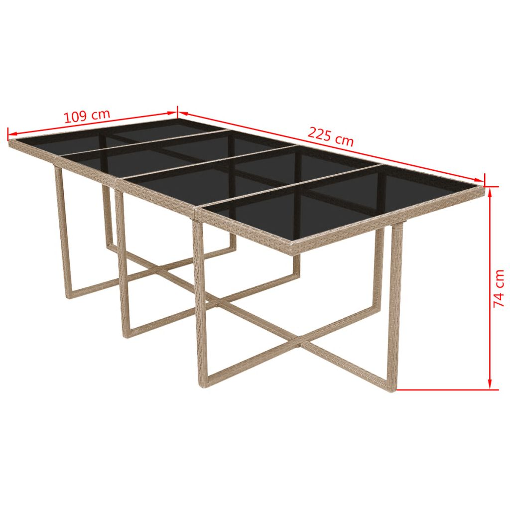 vidaXL Set mobilier de exterior cu perne, 13 piese, bej, poliratan
