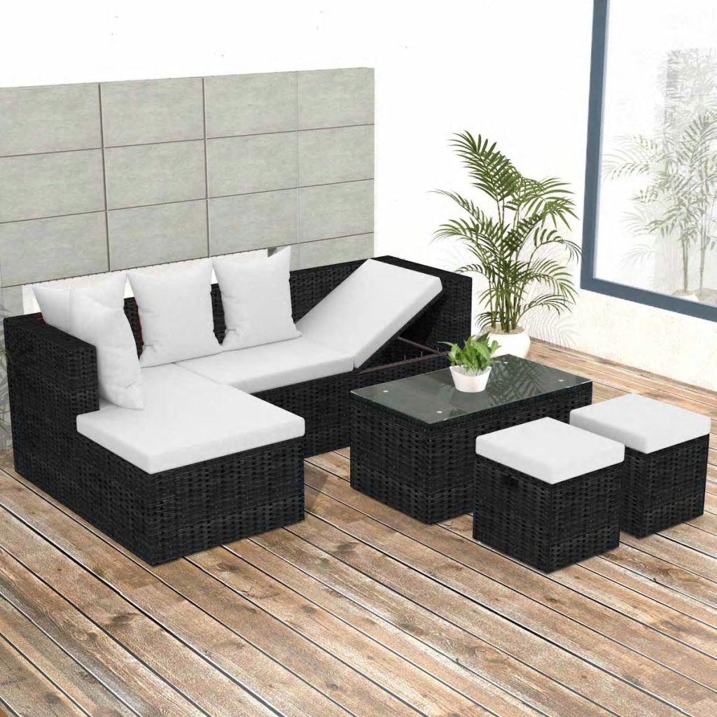 vidaXL Set mobilier de grădină cu perne, 4 piese, negru, poliratan