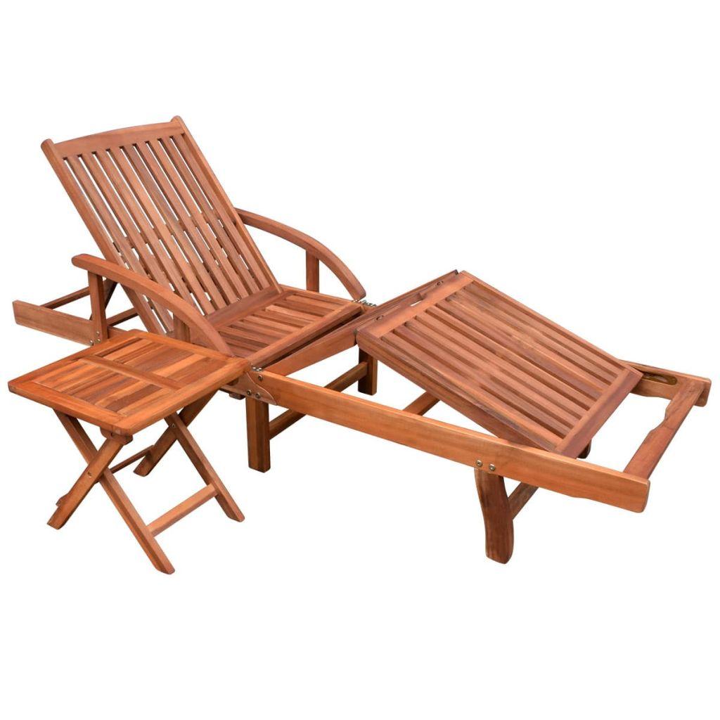 vidaXL Șezlong de plajă cu masă, lemn masiv de acacia