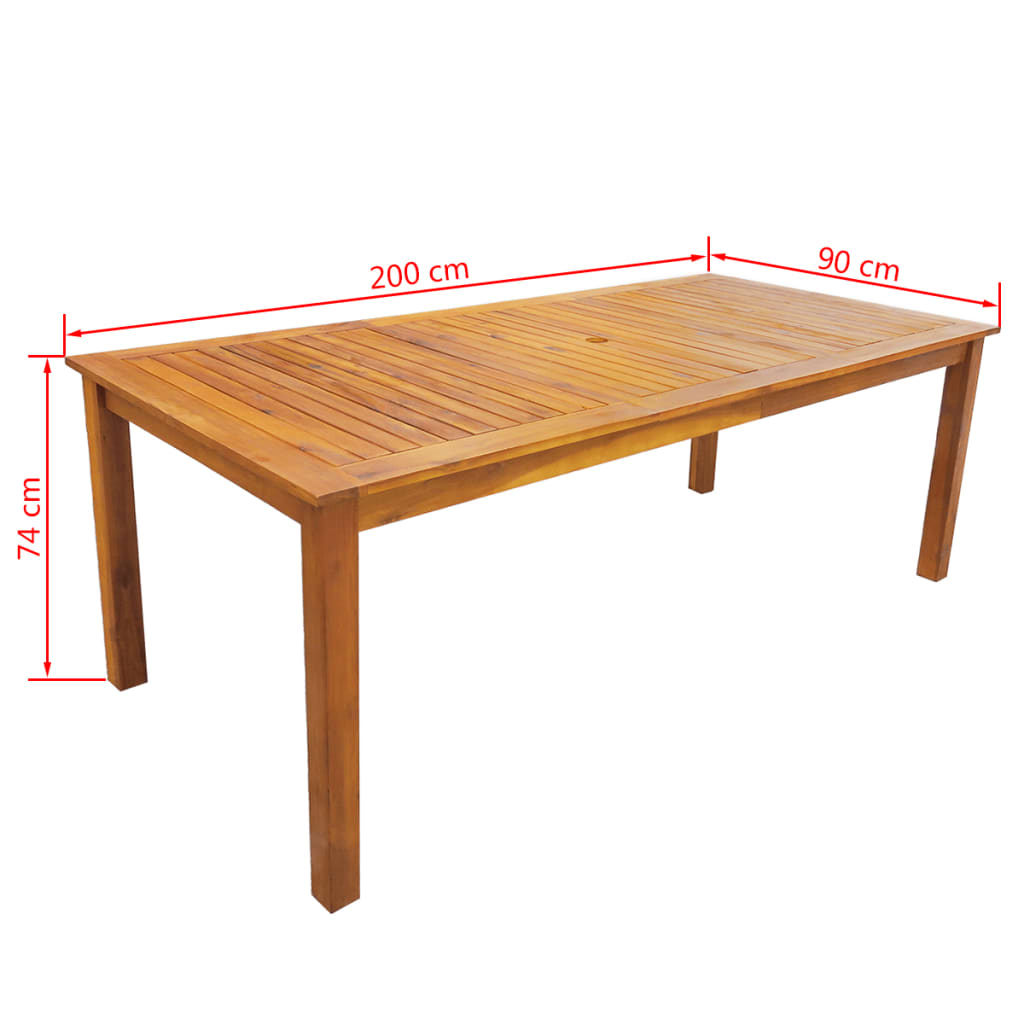 vidaXL Set mobilier de exterior, 9 piese, lemn masiv de acacia