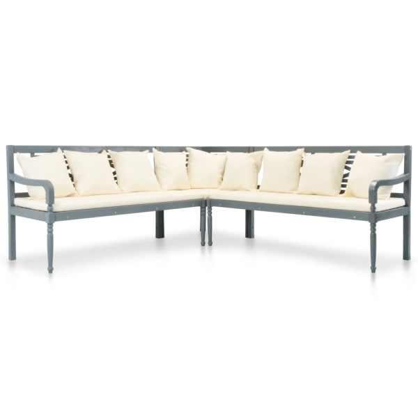 vidaXL Set canapea grădină cu perne, 3 piese, gri, lemn masiv acacia