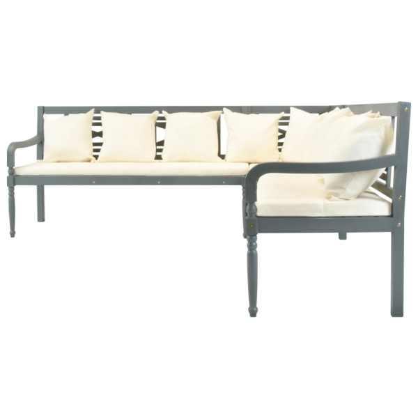 Set canapea grădină cu perne, 3 piese, gri, lemn masiv acacia