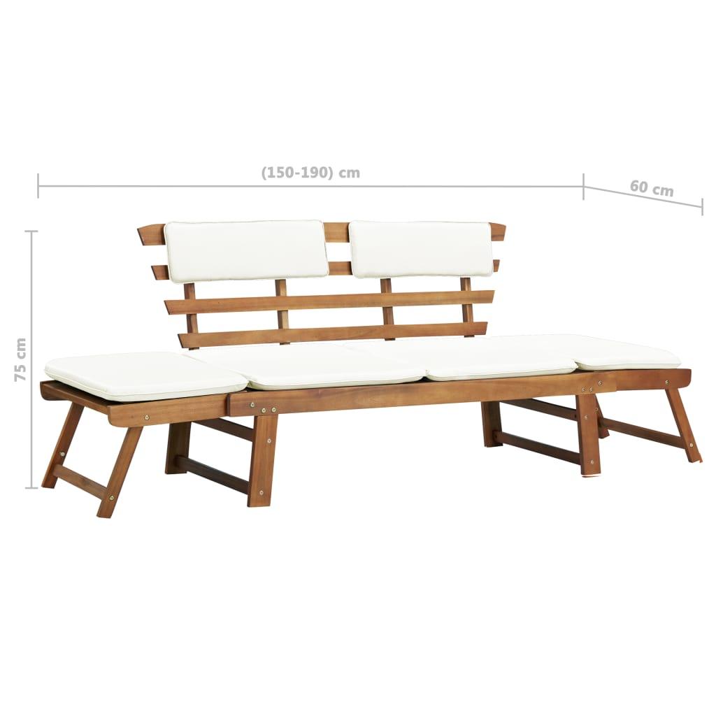 vidaXL Șezlong/Bancă grădină, lemn masiv de acacia, 190 x 66 x 75 cm