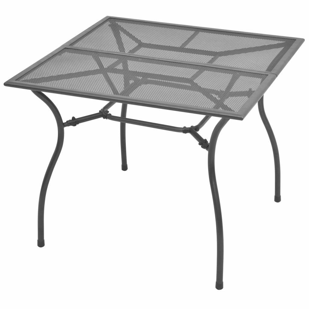 vidaXL Masă de grădină, 90 x 90 x 72 cm, plasă din oțel