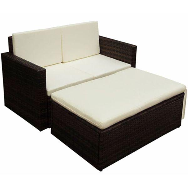 vidaXL Set mobilier de grădină cu perne, 2 piese, maro, poliratan