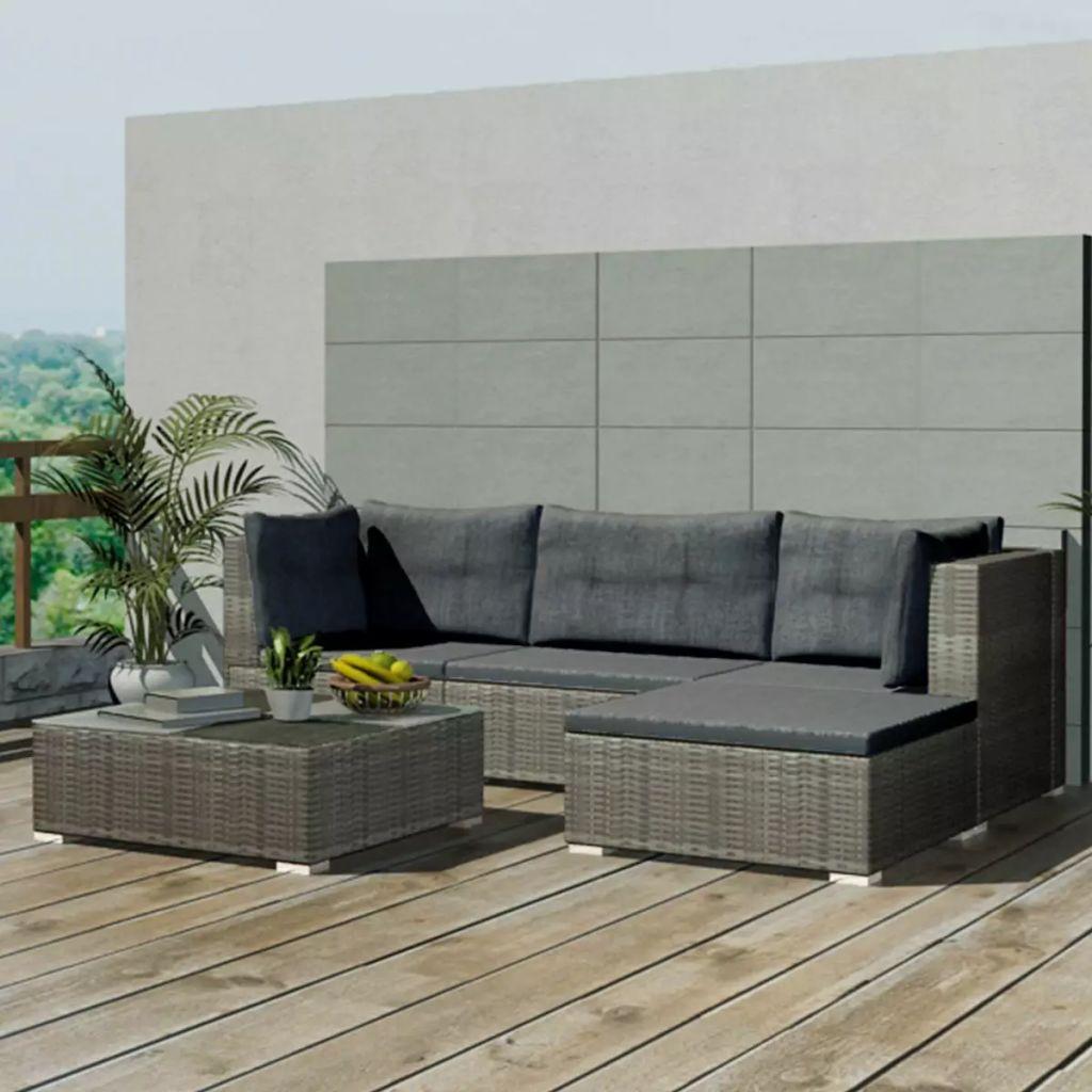 vidaXL Set mobilier de grădină cu perne, 5 piese, gri, poliratan