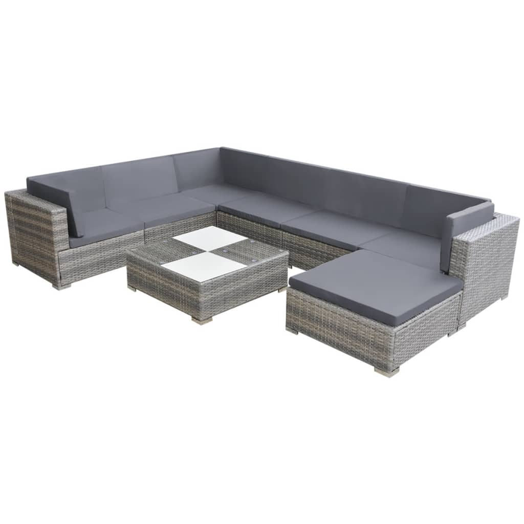 vidaXL Set mobilier de grădină cu perne, 8 piese, gri, poliratan
