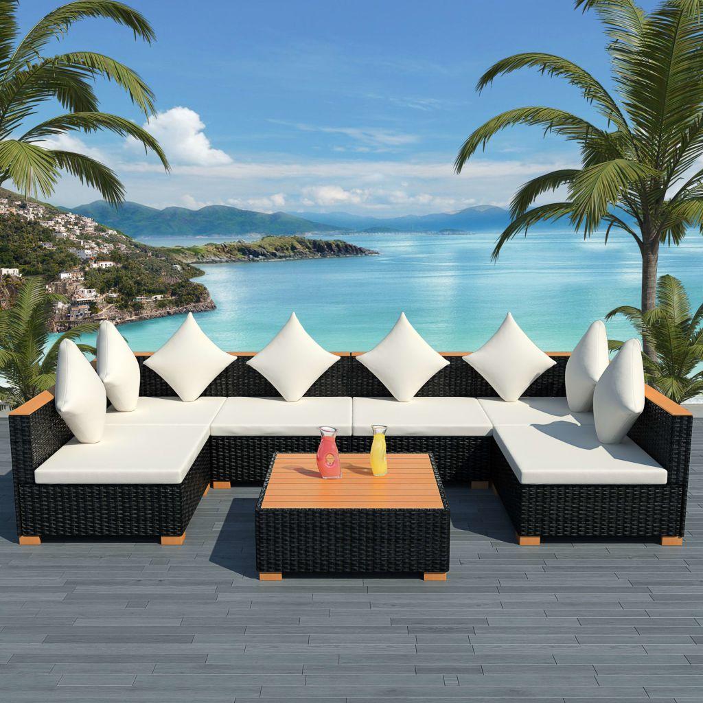 vidaXL Set mobilier de grădină cu perne, 7 piese, negru, poliratan