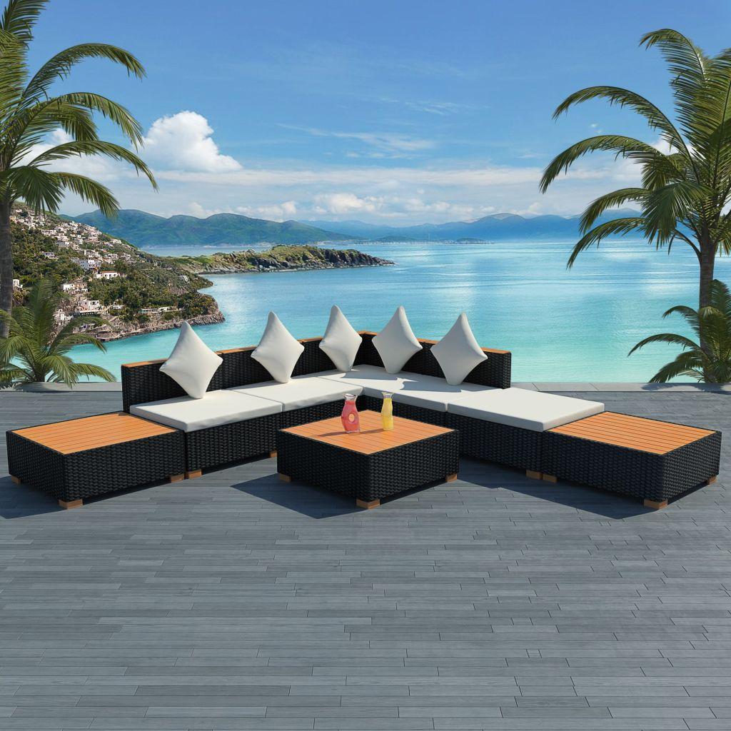 vidaXL Set mobilier de grădină cu perne, 8 piese, negru, poliratan