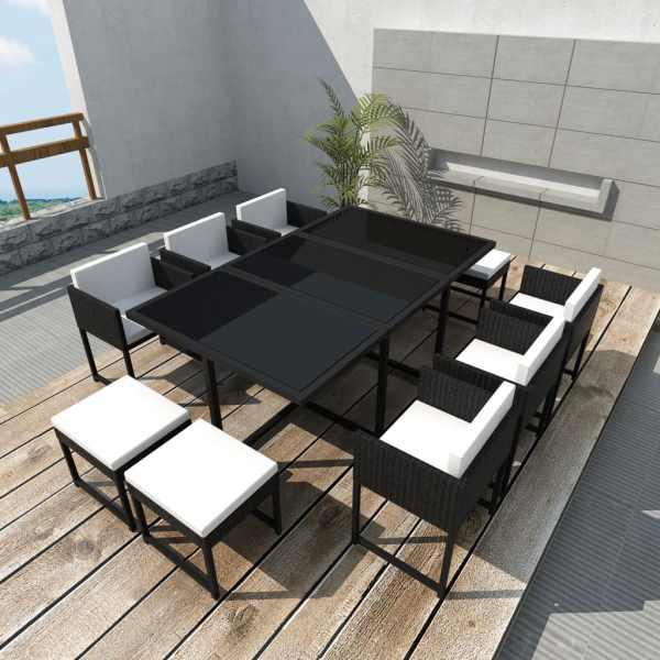 vidaXL Set mobilier de exterior cu perne, 11 piese, negru, poliratan