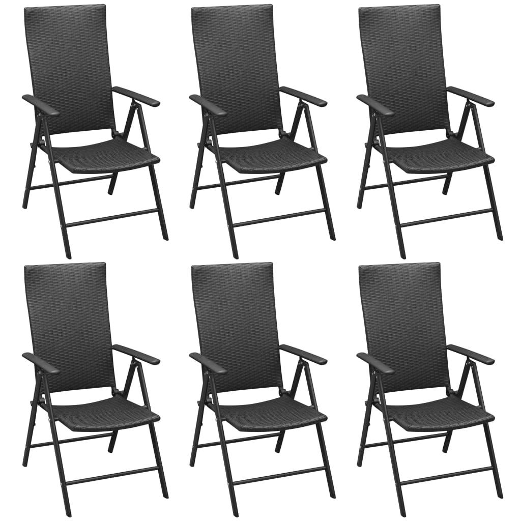 Set mobilier de exterior, 7 piese, aluminiu și poliratan
