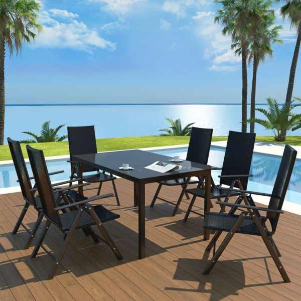 vidaXL Set mobilier de exterior, 7 piese, aluminiu și poliratan