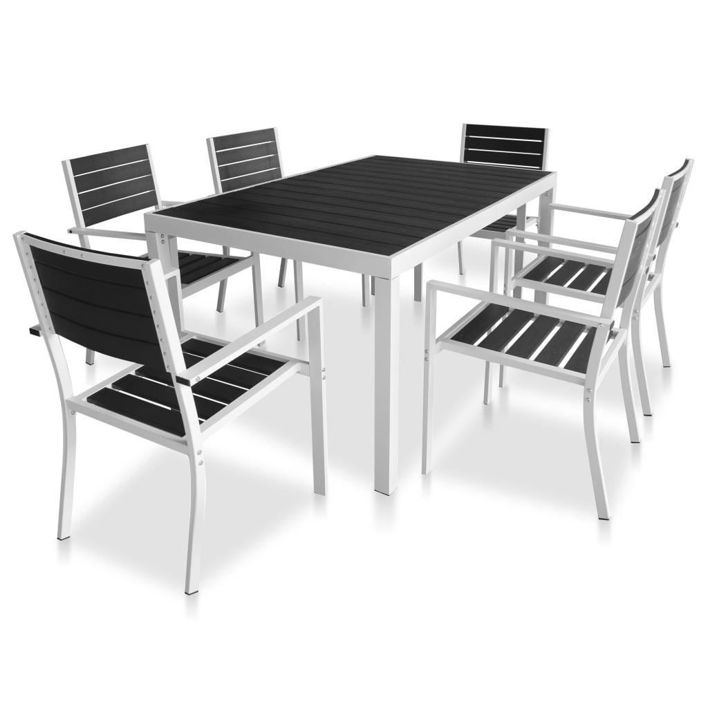 Set mobilier de exterior, 7 piese, negru, blat WPC și aluminiu