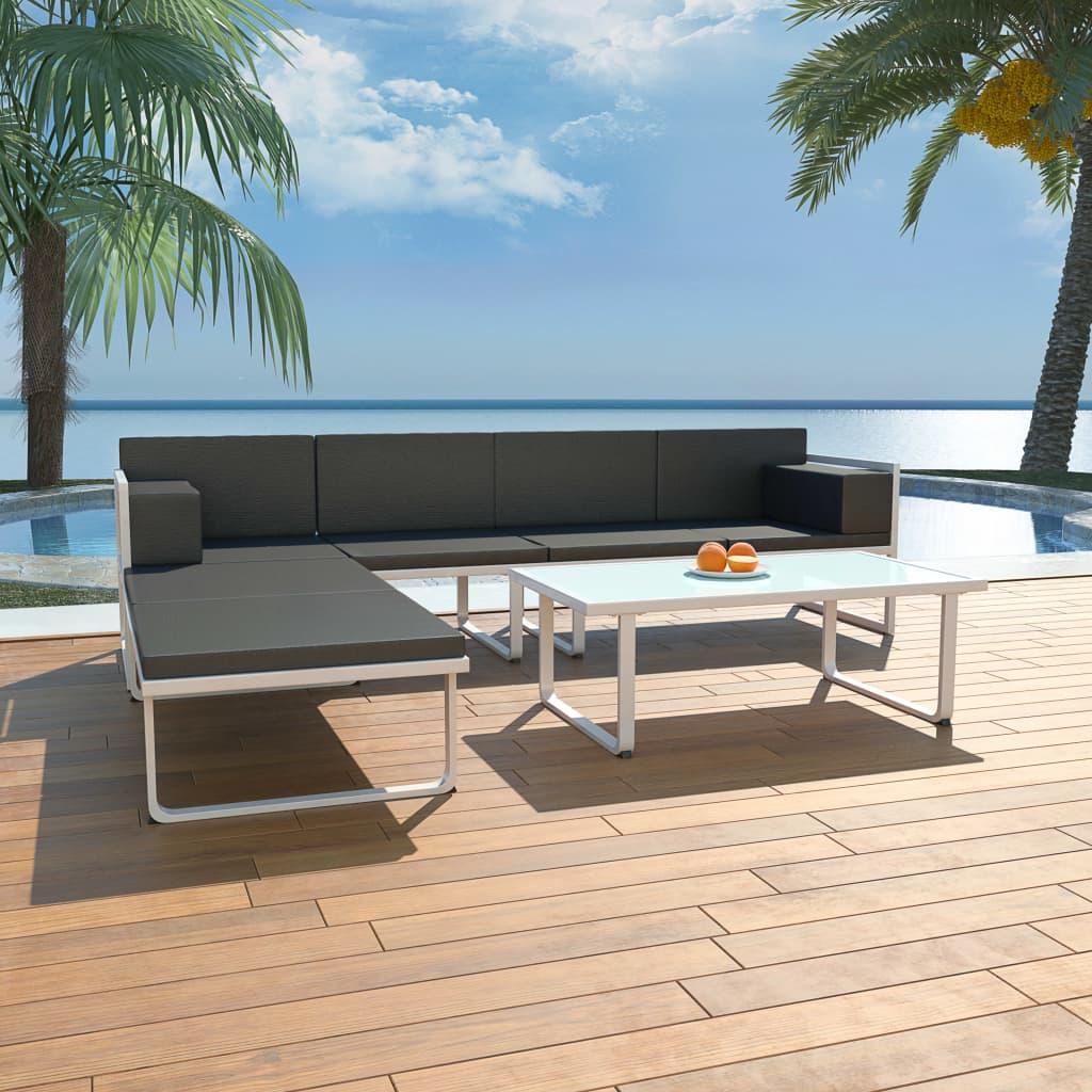 vidaXL Set mobilier de grădină cu perne, 4 piese, negru, aluminiu