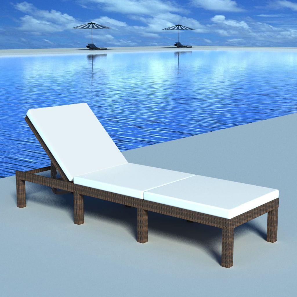 vidaXL Șezlong de plajă cu pernă, maro, poliratan
