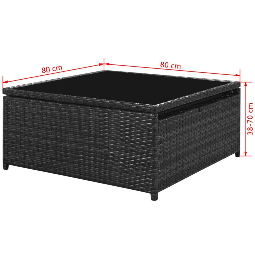 Set mobilier de grădină cu perne, 5 piese, negru, poliratan