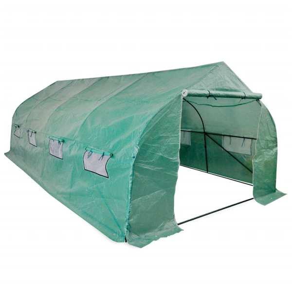 vidaXL Seră portabilă tip tunel, cadru din oțel, polietilenă, 18 m²