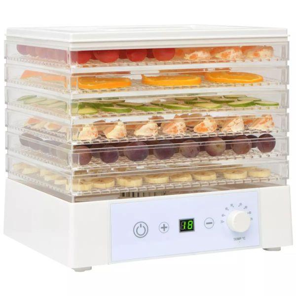 vidaXL Deshidrator de alimente cu 6 tăvi, 250 W, Alb