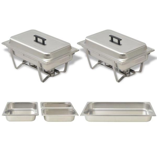 vidaXL Set vase încălzire mâncare, 2 piese, oțel inoxidabil