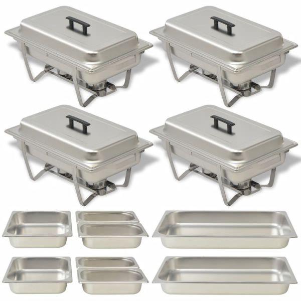 vidaXL Set vase încălzire mâncare, 4 piese, oțel inoxidabil