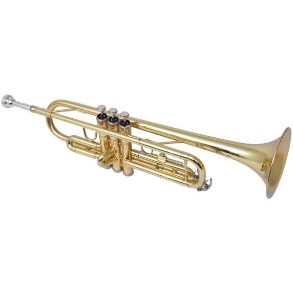 vidaXL Trompetă acordată în Bb, alamă galbenă cu luciu auriu