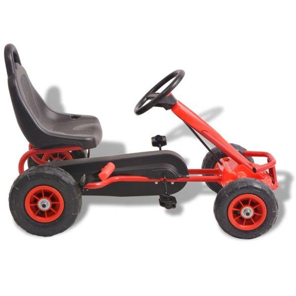 Mașinuță kart cu pedale și roți pneumatice, roșu