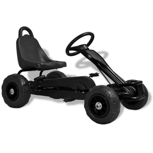 vidaXL Mașinuță kart cu pedale și roți pneumatice, negru